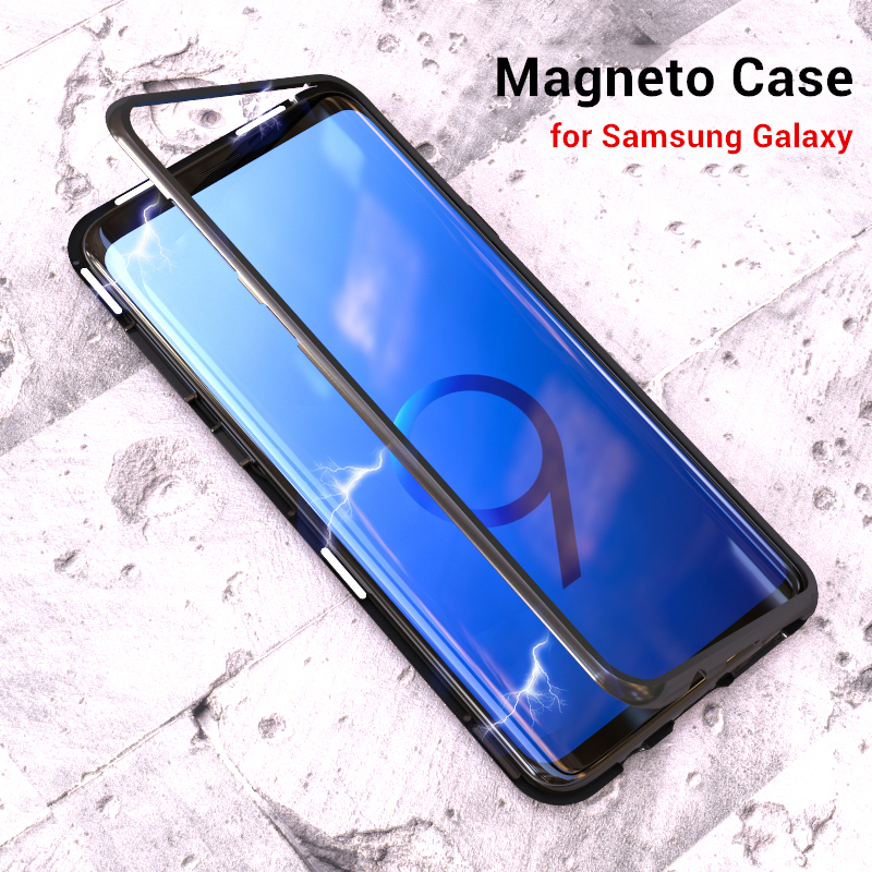 Luxury Magical Magneto Phone Case for Samsung Galaxy S9 S8 Plus S7 Edge Note 8 Magnetic Adsorption Aluminum Metal Back Cover