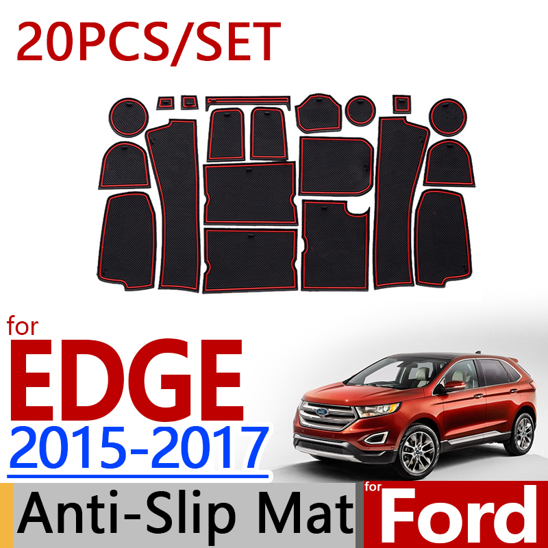 for Ford EDGE 2015 2016 2017 Anti Slip Rubber Cup Cushion Door Groove Mat 20pcs/set Accessories Car Styling Sticker
