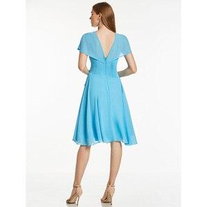 Image 2 - Robe de cocktail bleu glace, tenue courte à volants, col en v, sans manches, longueur genou, tenue courte, pour dames, accueil