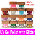 UV Gel Polish with Glitter Soak Off High Quality Cheap China Brand Long Lasting Glaze Dries any UV Lamp or LED Light Resin Tools