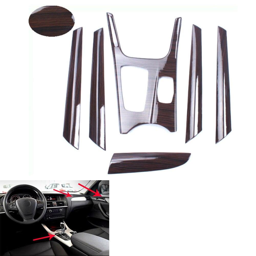 BBQ @ FUKA couleur Grain de bois voiture intérieur tableau de bord couverture panneau d'engrenage garniture voiture-style pour 2011-2016 BMW X3 F25 voiture-style décalcomanies