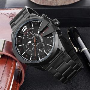Image 4 - Skone relojes de lujo para hombre, de cuarzo, de negocios marca, resistente al agua, con cronógrafo, dorado