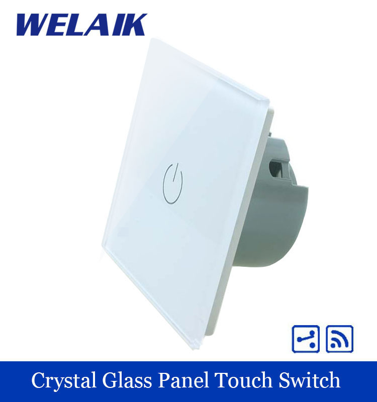 WELAIK Crystal Glass Panel Switch White Wall Switch EU Remote Control Touch Switch Light Switch 1gang2way AC110~250V A1914W/B smart home eu touch switch wireless remote control wall touch switch 3 gang 1 way white crystal glass panel waterproof power