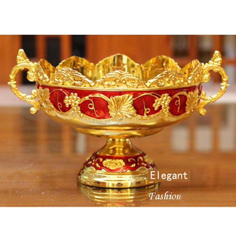 Nouveau Brillant D'or Plaqué Fruits Plat Avec Poignée Assiette À Dessert doux Plats Époxy Fruits Rack Plaques Pour Le Mariage Ou Partie 21X15X8 CM - 2