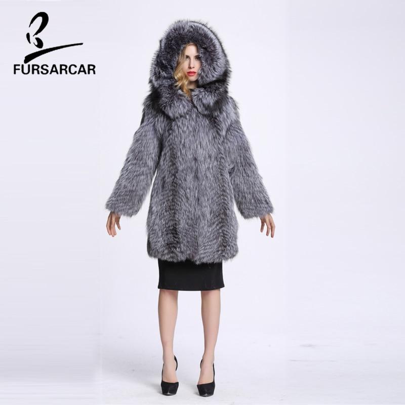 Argent Pelt Veste Réel Complet Épais Fourrure Chaud Manteau Fursarcar Naturel Femelle Renard De Femmes Show As D'hiver Avec Capot 6v5q81O