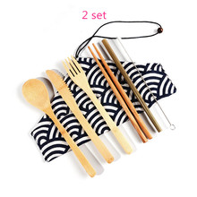 Portable Bamboo Fork Knife Spoon Cutlery Set Wooden Tableware with Eco Friendly Straws for Travel Dinnerware Sets