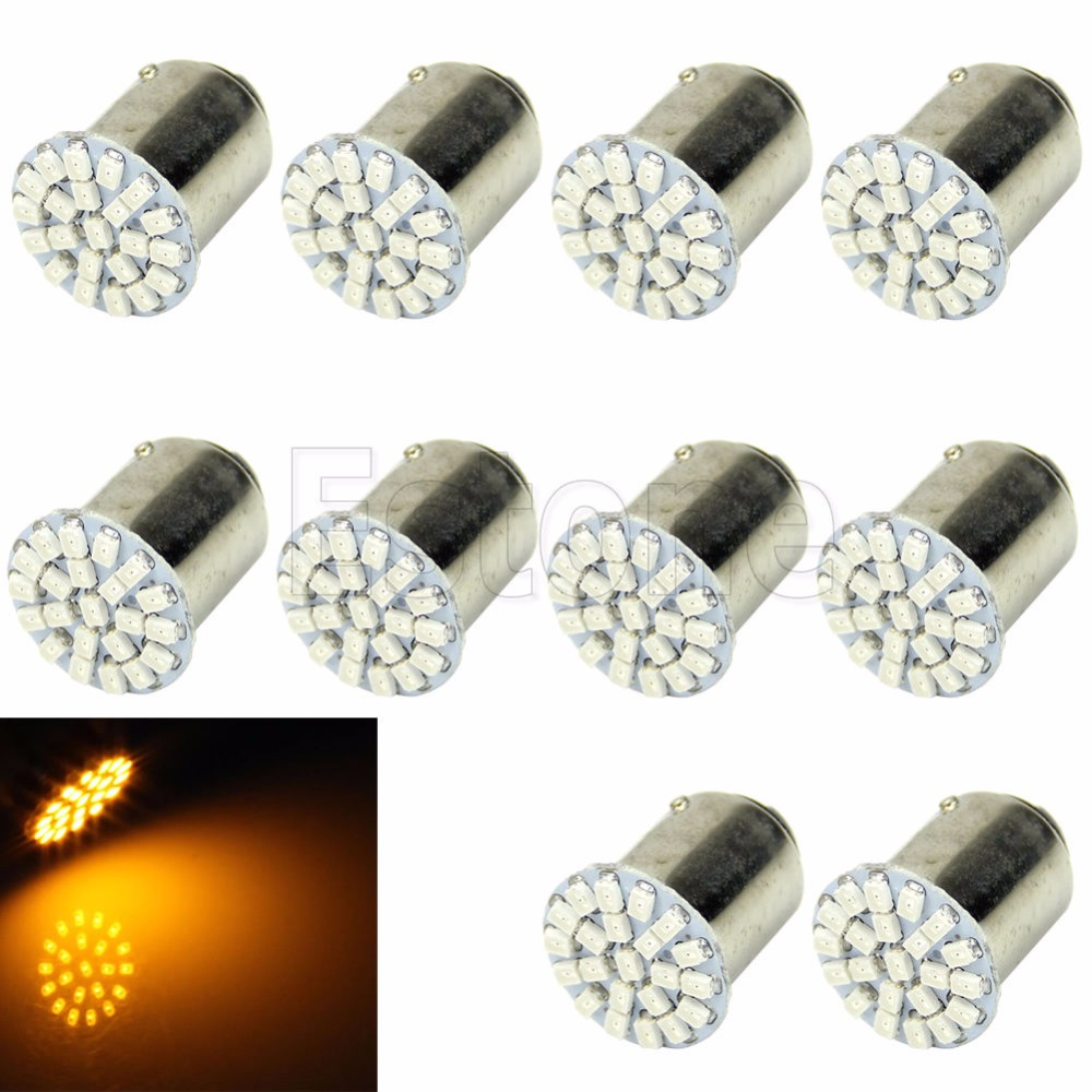 CYAN SOIL BAY 10X 1156 BA15S P21W 22-LED 1206 SMD Car RV Turn Tail Reverse Signal Light Bulb Amber Yellow 12V 10x car 9 smd led 1156 ba15s 12v bulb lamp truck car moto tail turn signal light white red blue yellow ba15s 1156 aa