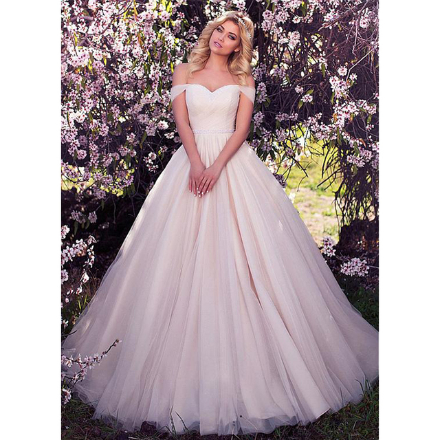 LORIE Wedding Dresses 2019 Beading with Tulle High Split White Ivory Princess  Wedding Gown Bridal Ball Gown back Lace up design 39b0e521c411