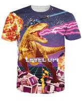 Mulheres Homens 3d Level Up T-Shirt doente raptor inferno universo digital com lasers explosões lightening t shirt tops t