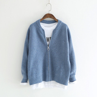 Spring Knitted Jacket Women Cardigan Sweater Winter Woman Coat 2019 Casual Long Sleeve Zipper Knitting Sweater Black Cardigan