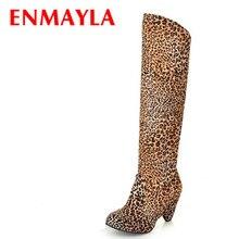 117c5ba2d06d ENMAYLA bottes de neige taille 34-39 Talons Aiguilles à Hauteur Du Genou  bottes D hiver Chaussures pour Femmes Sexy Léopard Chau.