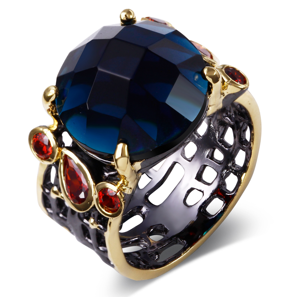 Ring For Women Big Round Blue Stone Setting Black & Gold Color Cz Cocktail  Ring Fashion