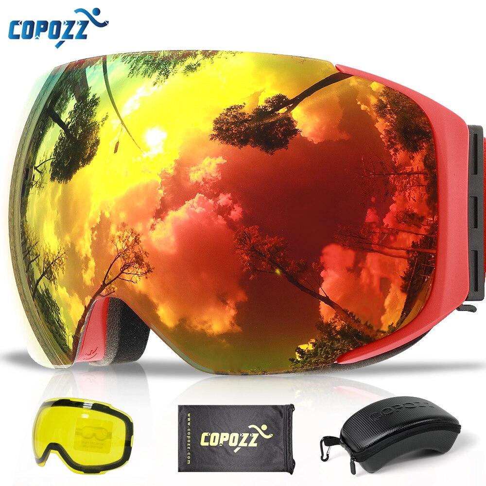 COPOZZ Magnetische Ski Brille mit Schnell-ändern Objektiv und Fall Set 100% UV400 Schutz Anti-fog-Snowboard Brille für Männer & Frauen