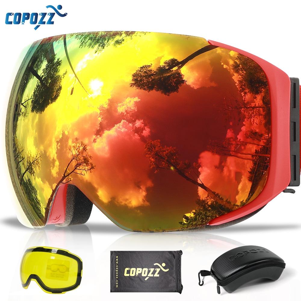 COPOZZ magnético gafas de esquí con cambio rápido de la lente y caso 100% UV400 protección Anti-niebla Snowboard gafas para los hombres y las mujeres