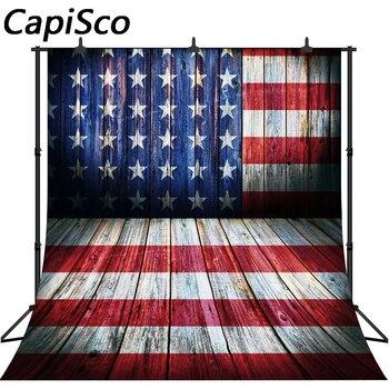 Fondos de foto de la bandera de Estados Unidos de Capisco fondos de estudio impresos día independiente piso de madera fondos fotográficos