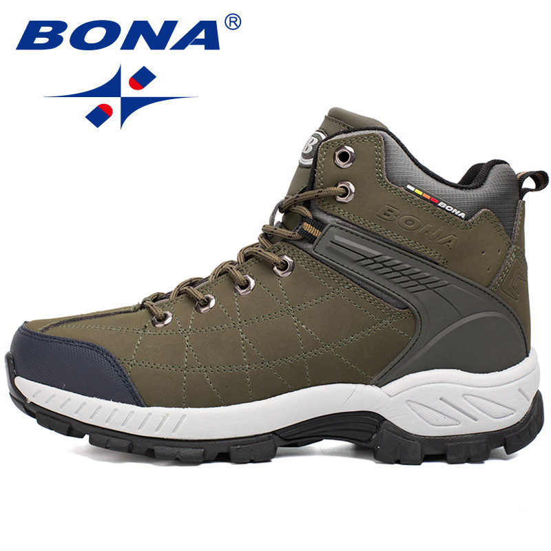 BONA New Arrival Popular Style Men Hiking Shoes Cow Leather Lace Up Men Trekking Boots Comfortable Men Climbing Sport Shoes Men