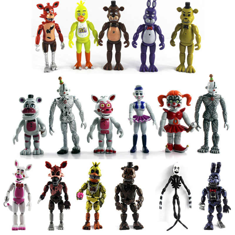 4/5/6/8/10/12PCS Five Nights At Freddy's Action Figures Set FNAF Foxy Bonnie Freddy Fazbear Sister Location Model Dolls FNAF Toy