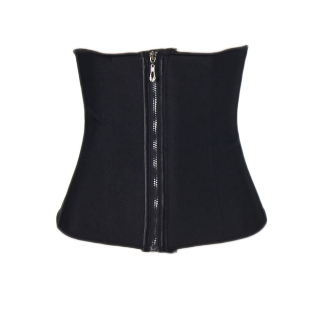 AJ2229 Newly Sexy Latex Waist  Corset 9 Steel Bone Zipper Latex Corset Black Waist Shaper Corset Slimming Steel Bone Corselet