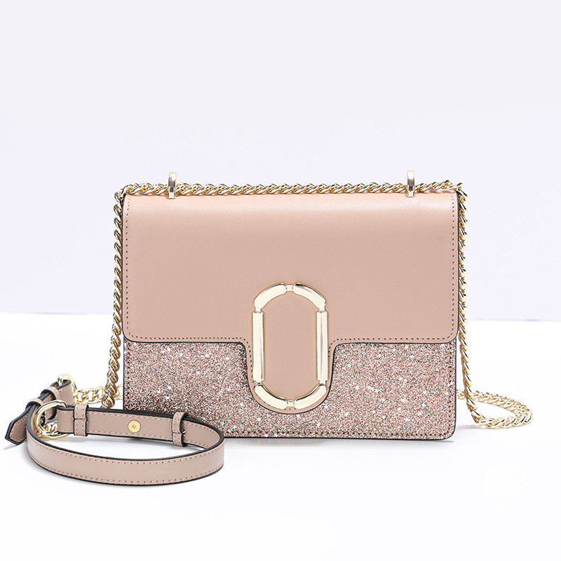 2018 Designer Vintage Genuine Leather Sequined Messenger Bag Luxury Handbags Women Bags Chain Bags High Quality Shoulder Tote