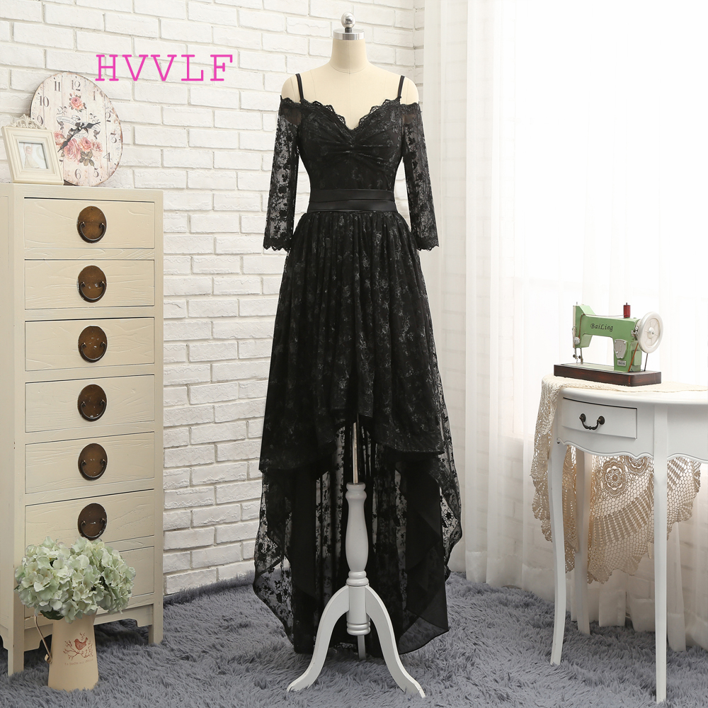 HVVLF Black 2019   Prom     Dresses   A-line Spaghetti Straps Short Front Long Back Bow Lace   Prom   Gown Evening   Dresses   Evening Gown