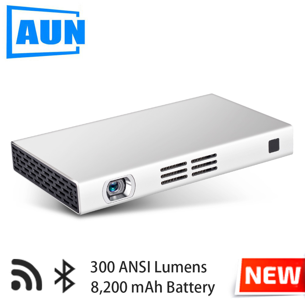 AUN WIFI Projector D6S, 1080*720 Resolution, Android 5.1, Bluetooth, 8,000mAH Battery Power Bank. HDMI, USB, SD. (Optional D6I) aun projector 3200 lumen t90 1280 768 optional android projector with 2 4g air mouse bluetooth wifi support kodi ac3 led tv