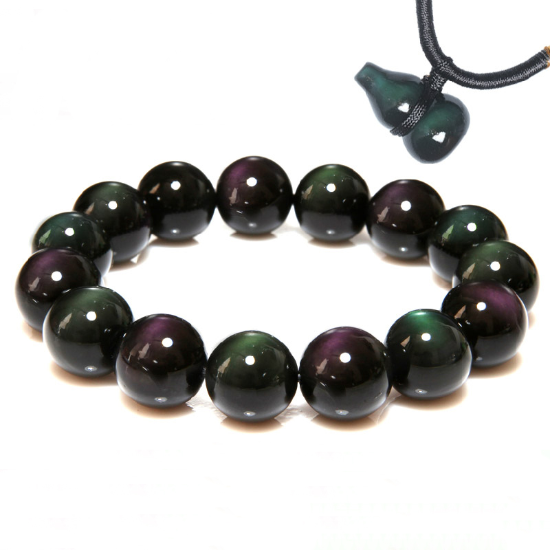 Natural Rainbow Eye Obsidian Bracelet Men and Women Models Crystal Bracelets Couple Models