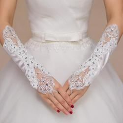 High Quality White Satin Bride Bridal Gloves Elbow Length Fingerless Sequins Beaded Women Wedding Gloves Accessoire Mariage