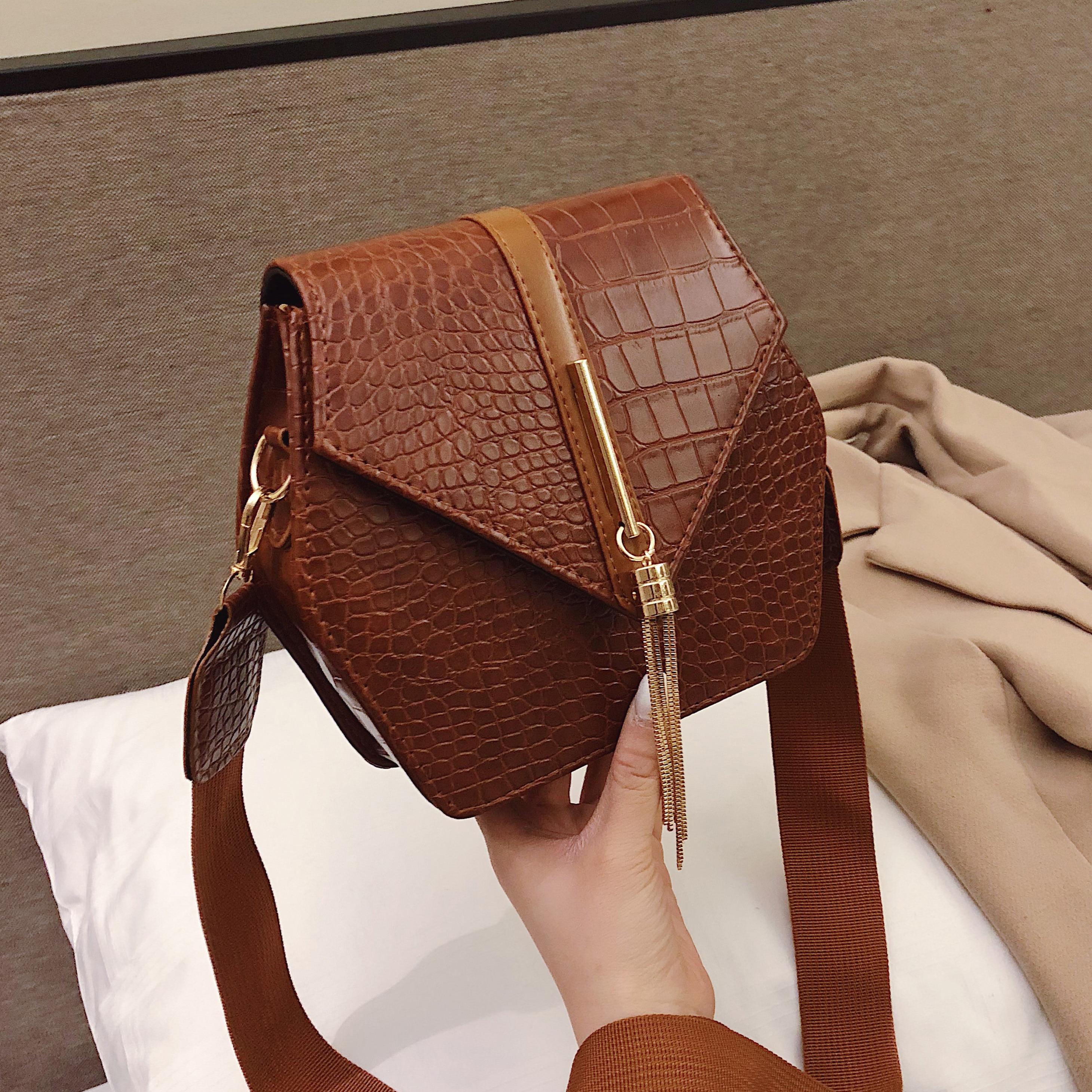 Crossbody-Bags Purses Handbags Messenger-Bag Stone-Pattern Tassel-Shoulder Female Women