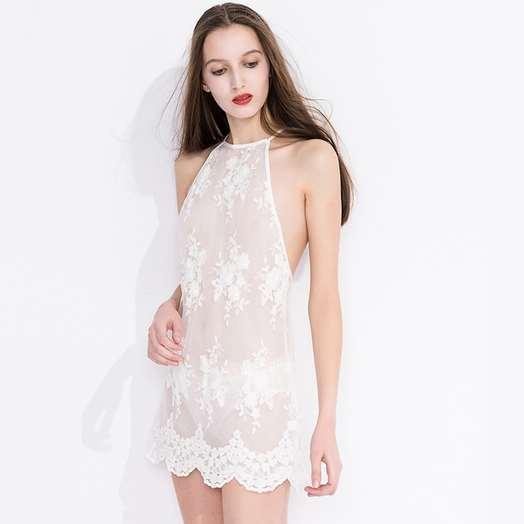 Hoyyezen new sleepwaer sexy transparent embroidered hanging neck openwork lace nightdress panties suit in Robe Gown Sets from Underwear Sleepwears