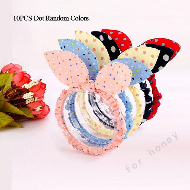 10PCS/Lot Mix Styles Dot Flower Leopard Trip Rabbit Ears Hair Rope Girls Cute Ponytail Holder Scrunchy Kids Hair Tie Accessories