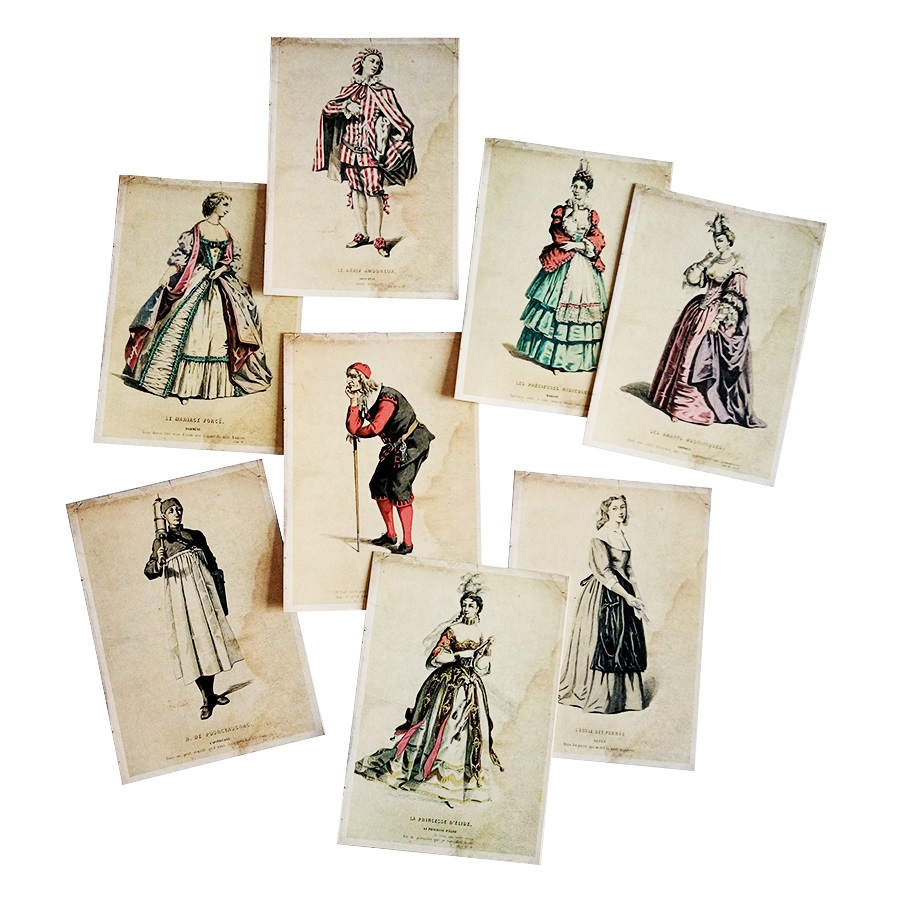 16 Pcs/lot Fashion Europe Ladies And Gentlemen Postcard Greeting Post With Kraft Package Card Gift Cards For  New Year