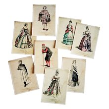 16 unids/lote postal de moda europea para señoras y caballeros con paquete Kraft tarjetas de regalo para año nuevo