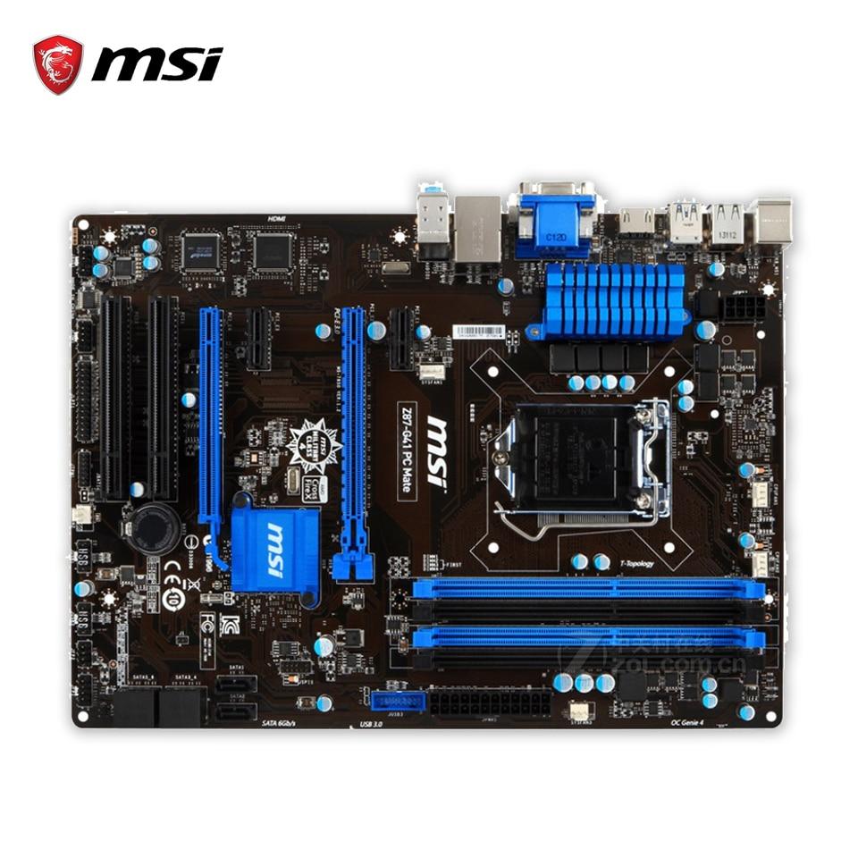 MSI Z87-G41 PC Mate Original Used Desktop Motherboard Z87 Socket LGA 1150 i3 i5 i7 DDR3 64G SATA3 USB3.0 ATX