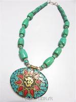 TNL554 Tibetan handmade Green Turquoise Big Pendant beaded necklace,Nepal Indian vintage ethnic jewelry wholesle Tibet jewel