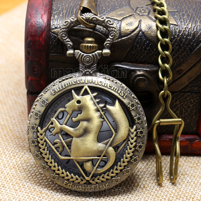 Hot Steampunk Fullmetal Alchemist Bronze Horse Clock Hollow Quartz Pocket Watch Chain Men Women's Pendant Watches Gift