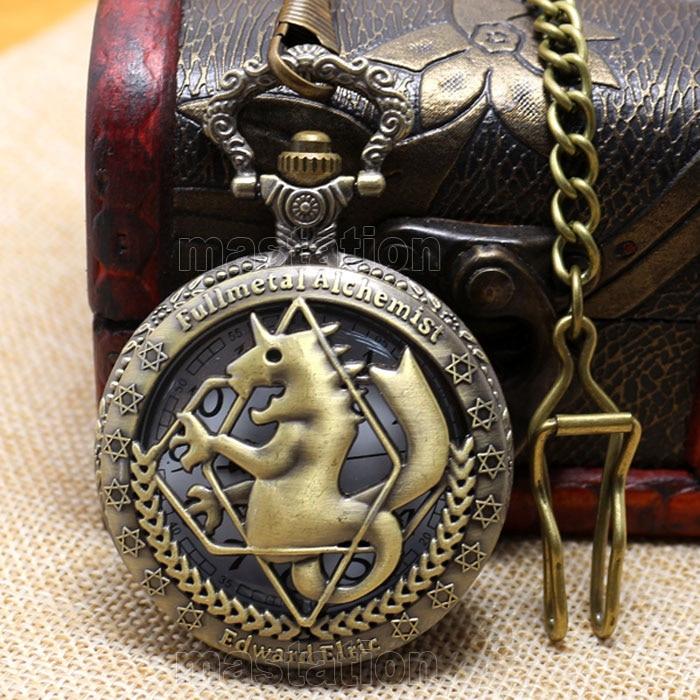 Hot Steampunk Fullmetal Alchemist Reloj de bronce del caballo Reloj - Relojes de bolsillo