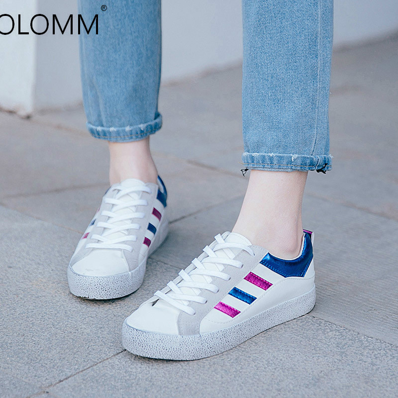 2019 Spring Low-cut Belt with Microfiber Casual Shoes Ladies Shoes  Platform Canvas Shoes Tenis Feminino Casual Sneaker(China)