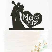 MR And MRS Letter love hearts shape Wedding cake Decoration Acrylic Cake Topper