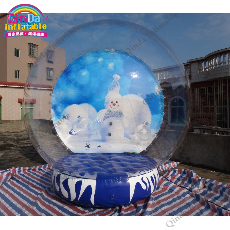 Free pump and blower 1m diameter 0.3m bottom snow ball, inflatable snow globe for Chirstmas decoration 3m diameter empty inflatable snow ball for advertisement christmas decorations giant inflatable snow globe