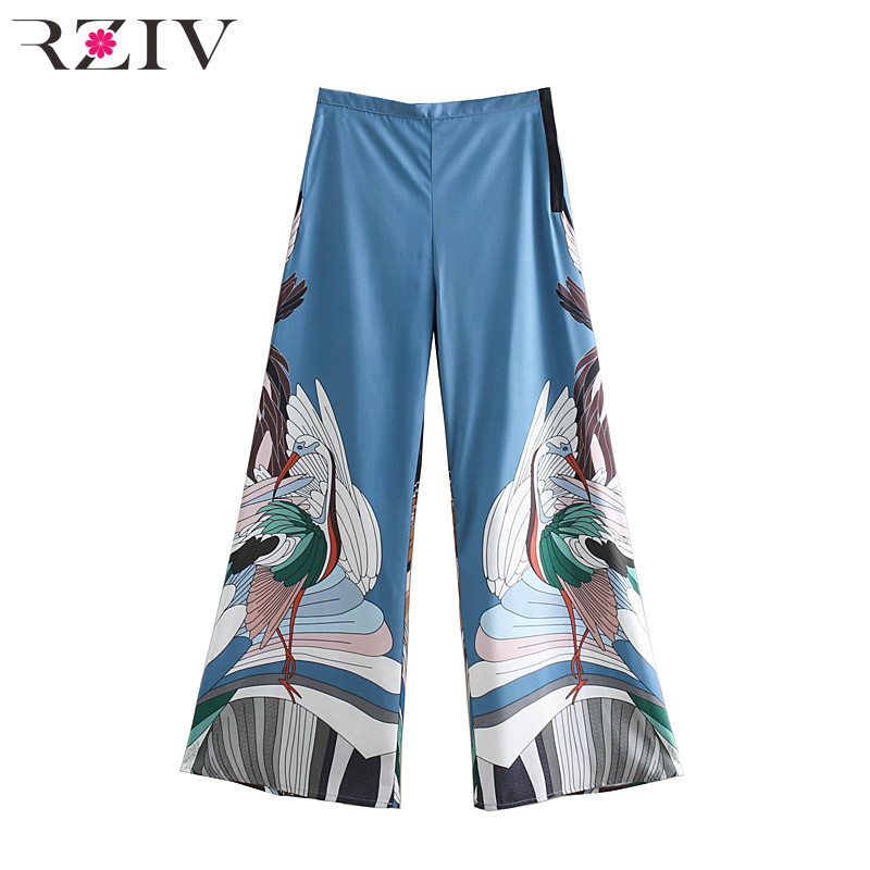 RZIV Summer Long Loose High Waist trousers Women's   Pants   Casual Crane Print   Wide     Leg     Pants