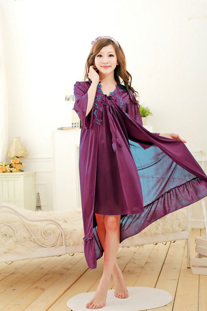 Free shipping women lace Large size nightdress  plus size bathrobe Sleepwear nightgown 2016 spring summer  Violet A612-3