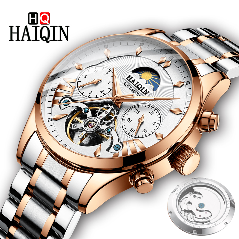 HAIQIN Men s Watches Watch Men 2019 Gold Luxury Men s Mechanical Watch Military Sports Waterproof