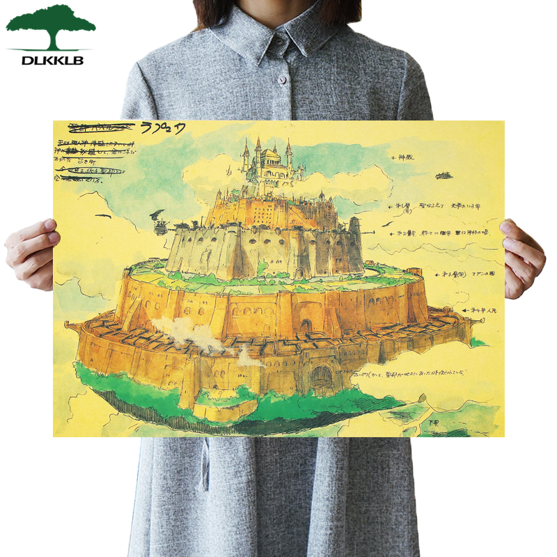 DLKKLB Castle In The Sky Miyazaki Vintage Poster 51.5x36cm Classic Anime Movie Wall Sticker Bar Cafe Home Decoration Painting