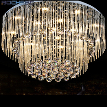 BOCHSBC K9 Crystal Chandeliers Lights Fixture LED Round LED Suspension Luminaire Modern Pendant Ceiling Lustre Plafondlamp Light new arrival k9 crystal pendant light modern fashion single light led dining room hotel project lustre suspension drop light
