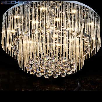 BOCHSBC K9 Crystal Chandeliers Lights Fixture LED Round LED Suspension Luminaire Modern Pendant Ceiling Lustre Plafondlamp Light - Category 🛒 Lights & Lighting
