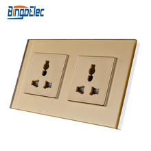 13A doble MF pared, zócalo universal, Cristal de oro panel de vidrio templado, AC110-250V