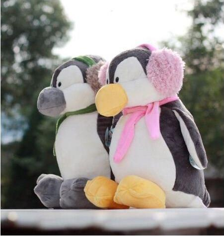 Cute font b plush b font toys ear protection package New couples headset penguin toy dolls