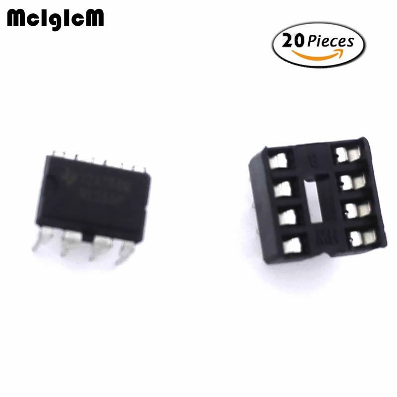 MCIGICM 20pcs , (10 Each) NE555 IC 555 & 8 Pin DIP Sockets