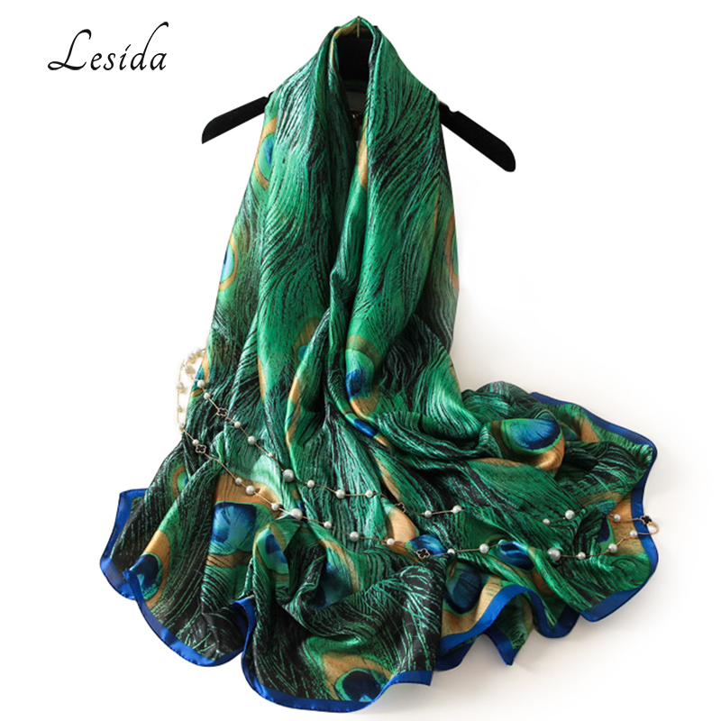 LESIDA Luxury Brand Women Green <font><b>Silk</b></font> Shawl Peacock Feather Print <font><b>Scarves</b></font> Big Size Echarpes Femme Cachecol Foulards <font><b>180*90CM</b></font> 3004 image