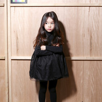High Necked Cotton Dress Korean Version Of The Fall And Winter The Air Thick Cashmere Lace